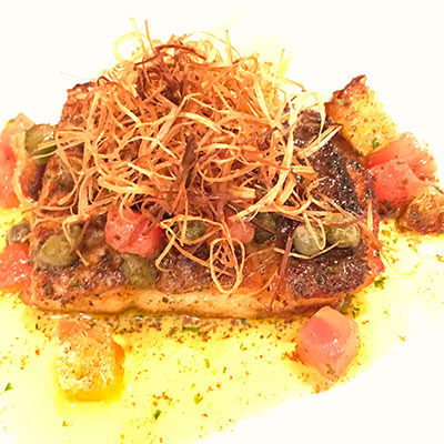 鮮魚のポワレ グルノーブルソース