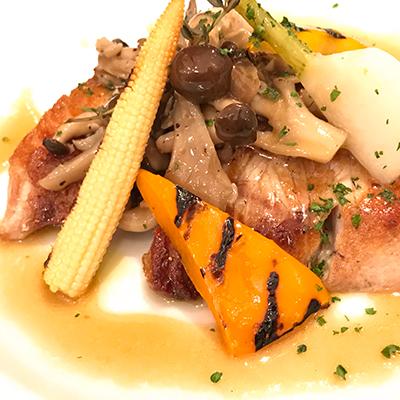 鮮魚のポワレ・オリーブオイルとポン酢のソース